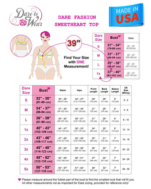 Dare Fashion Sweetheart Top Sweetheart Size Chart Victorian Gothic Corset Chemise