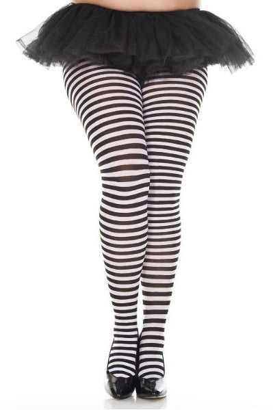 Striped Tights in Black and White