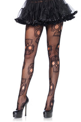 Black Sugar Skull Fishnet Tights