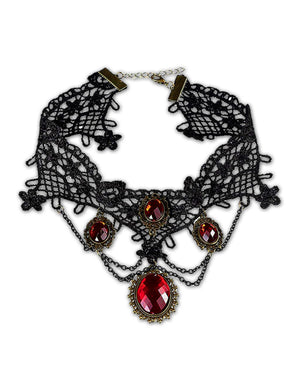Black Lace Faux Ruby Vampire Choker Necklace