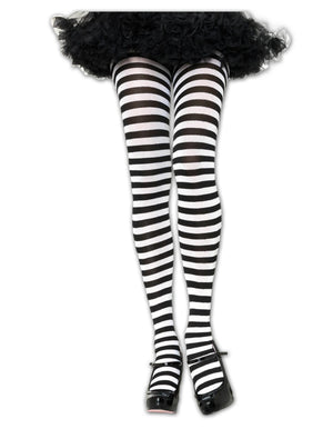 Black/White Striped Tights