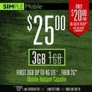 25 $ Simple Mobile Plan 3GB