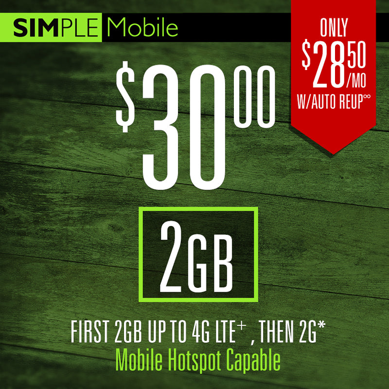 30 $ Simple Mobile Plan 5GB