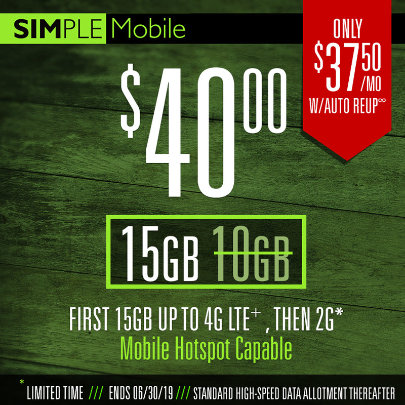 40 $ Simple Mobile Plan 15GB