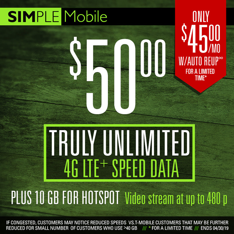 50 $ Simple Mobile Plan Unlimited