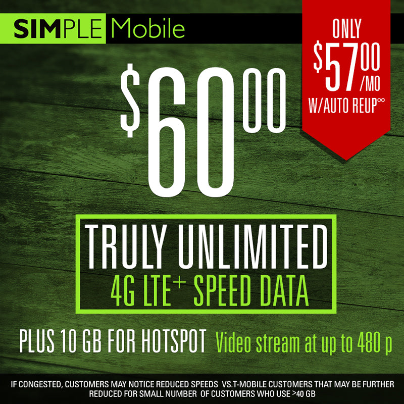 60 $ Simple Mobile Plan Unlimited