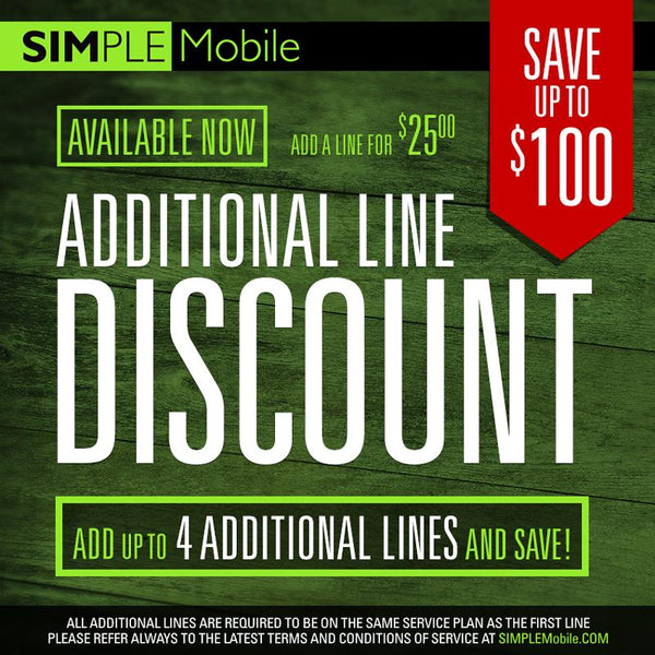 25$ Simple Mobile Add a Line - Family Plan