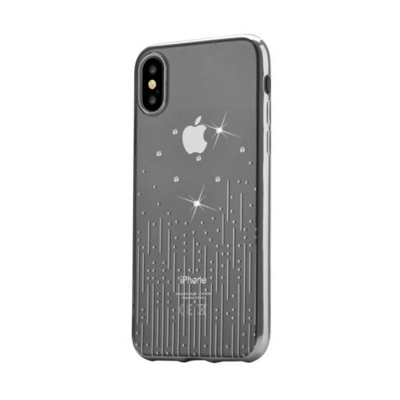 Crystal Meteor soft case for for iPhone X Silver
