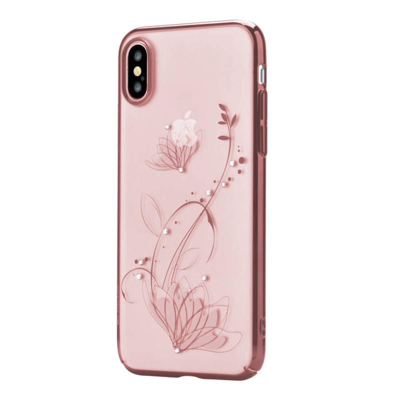 Crystal lotus case for iPhone X Rose Gold