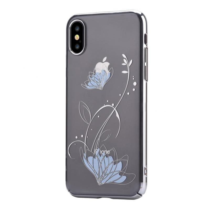 Crystal lotus case for iPhone X Silver