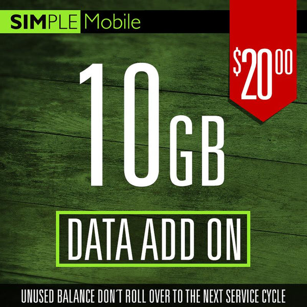 Add ON 10GB Data Simple Mobile