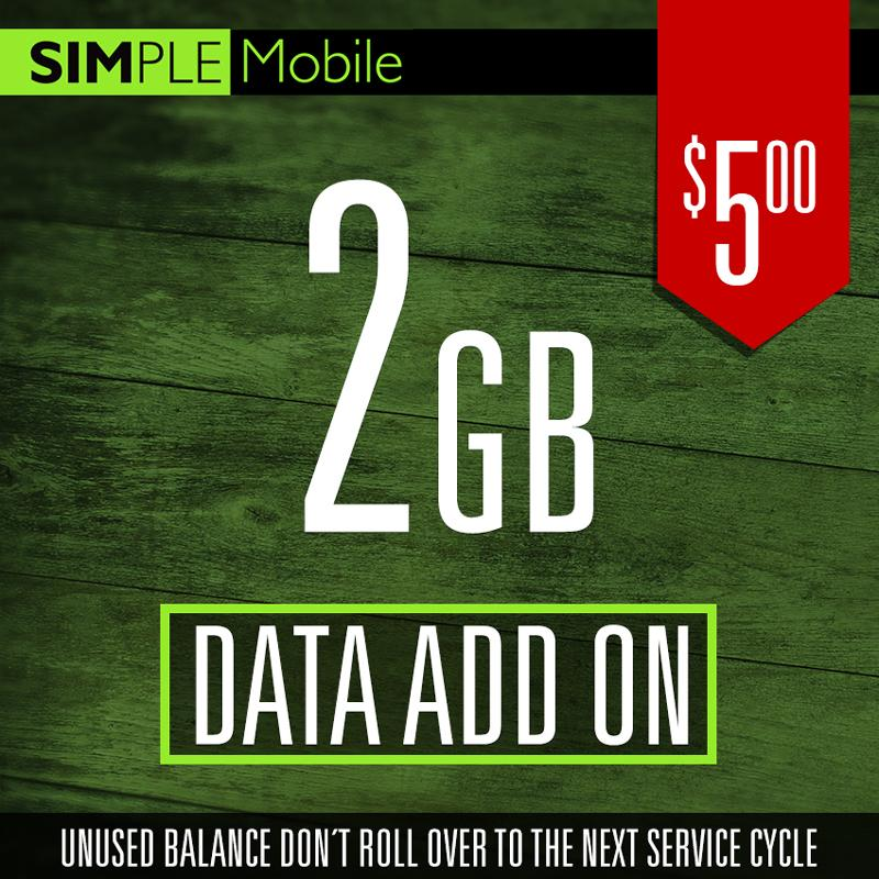 Add ON 2GB Data Simple Mobile