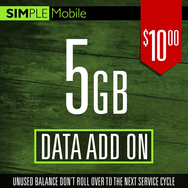 Add ON 5GB Data Simple Mobile