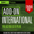 Add ON International Call Simple Mobile