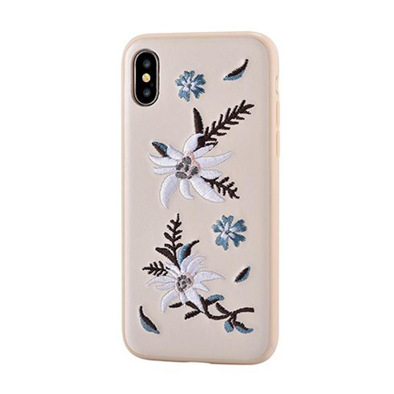 Flower Embroidery Case for iPhone X Jalam