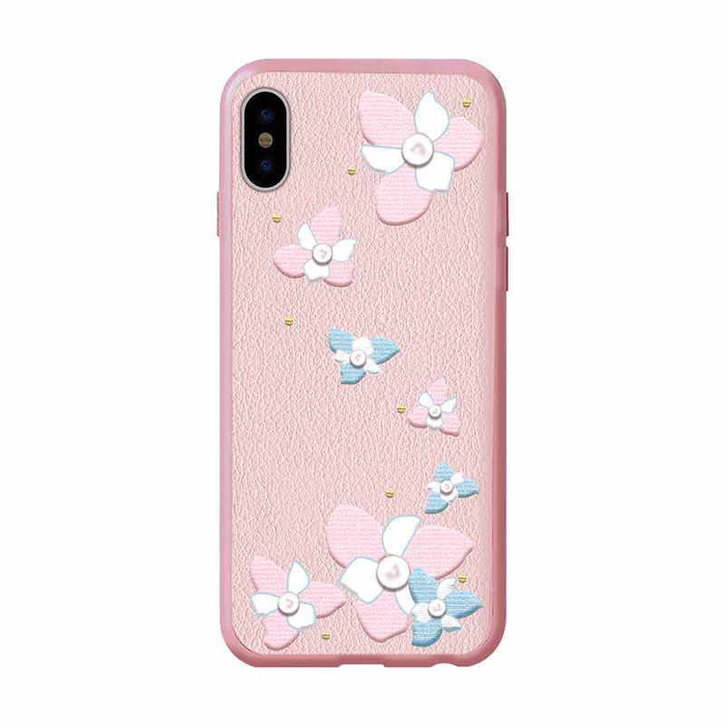 Flower Embroidery Case for iPhone X Lanya