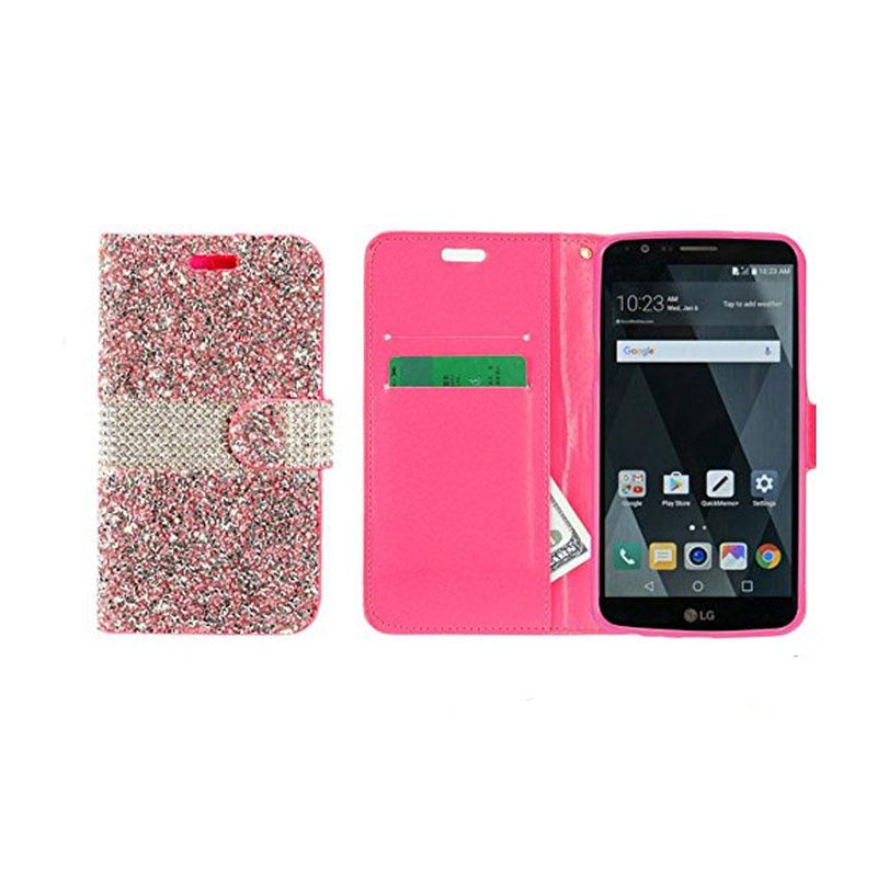 LG STYLO 3 WALLET RHINESTONE DIAMOND- (flip case with credit card and cash pocket )