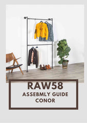 Conor clothes rack industrial pipe assembly guide