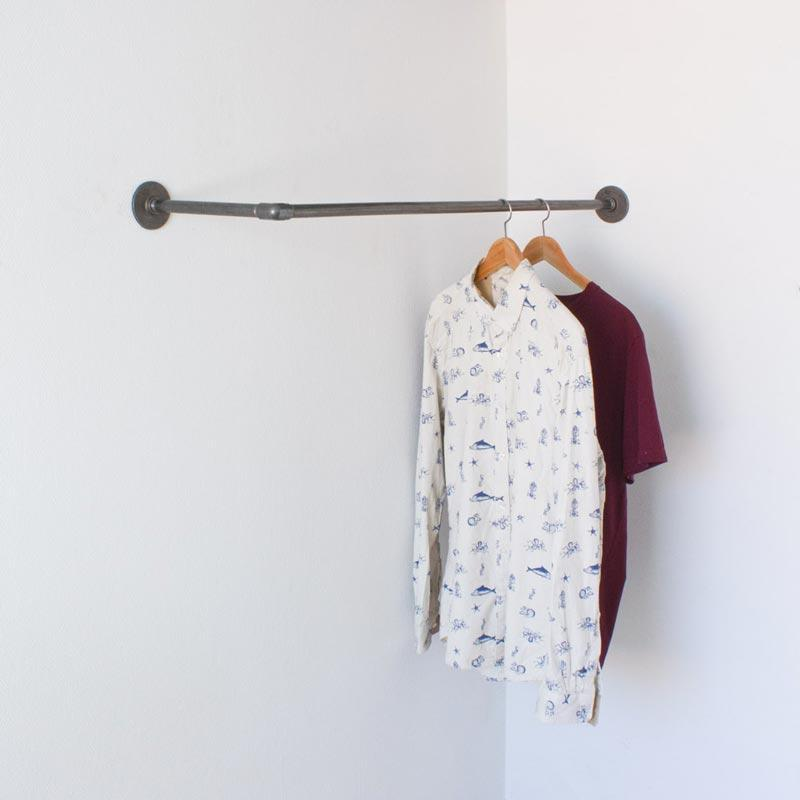 RAW58 Liam wall mounted clothes rail in black