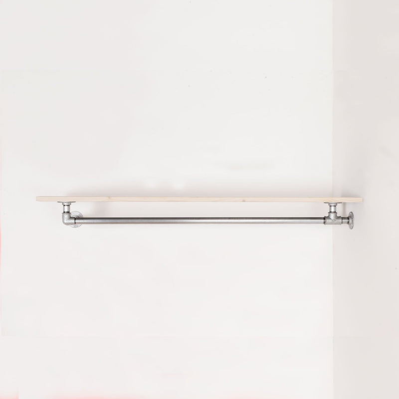 RAW58 Liam clothes rail in silver with a shelf