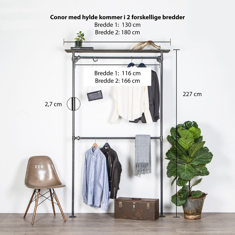 RAW58 Conor clothes rack in black with a shelf
