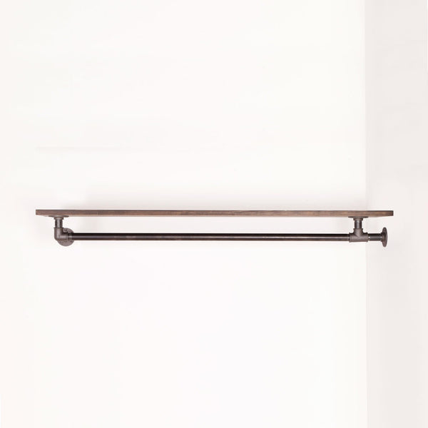 RAW58 Liam clothes rail in black with a shelf