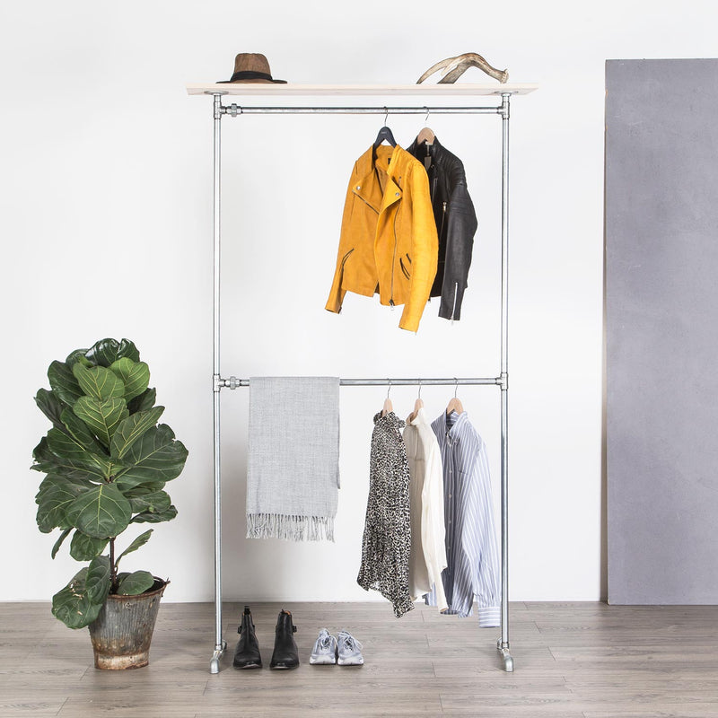 RAW58 Vincent clothes rack in silver with a shelf