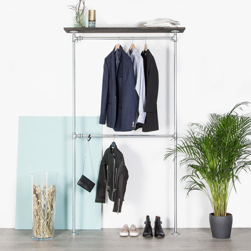 RAW58 Conor clothes rack in silver with a shelf