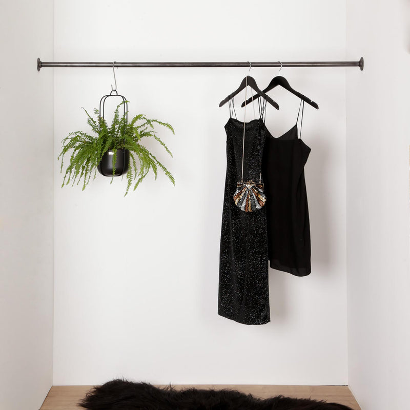 RAW58 Marzello wall-mounted clothing rail between two walls in black