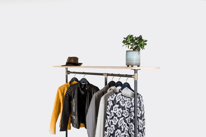 RAW58 Alma clothes rack in black with shelf