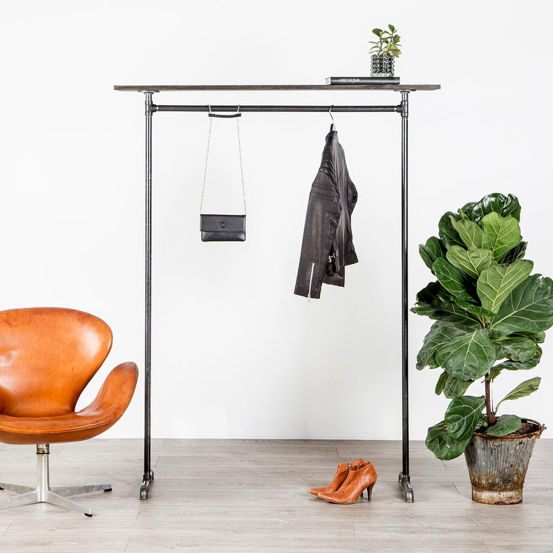 RAW58 Emma clothes rack in black with a shelf
