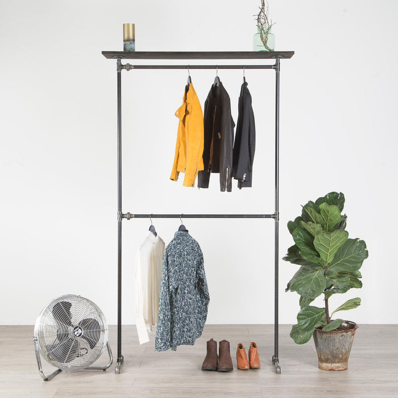 RAW58 Vincent clothes rack in black with a shelf
