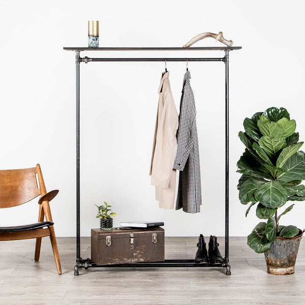 RAW58 Peter clothes rack in black with a shelf