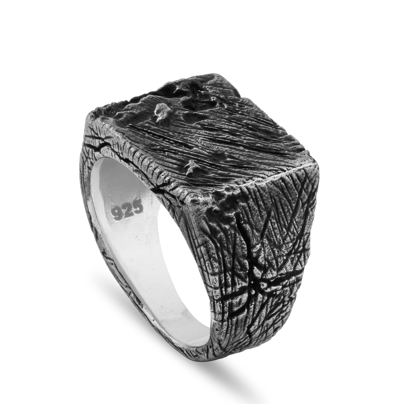 silver square ring sterling silver ring carved unique mens ring simple ring unique ring stamped ring vintage ring rectangle ring