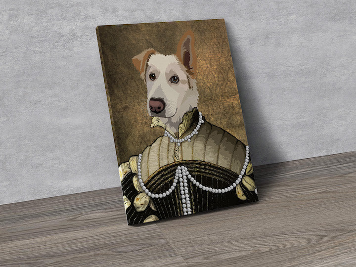 The Pearled Lady - Custom Pet Portrait Canvas - Wags To Royalty