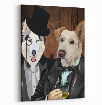 The Sophisticates  - Custom Pet Portrait Canvas - Wags To Royalty