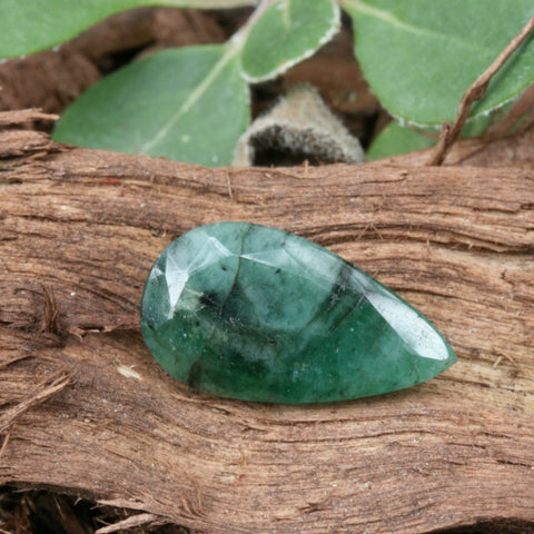 Faceted Emerald Teardrop