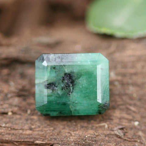 Faceted Emerald Short Rectangle