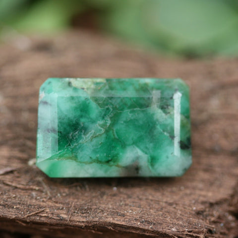 Faceted Emerald Long Rectangle