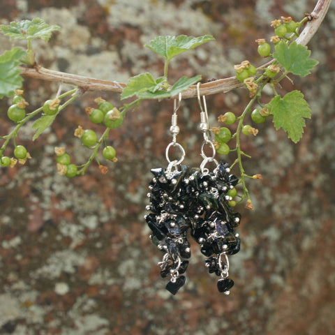 Black Tourmaline Grape Chip Earrings