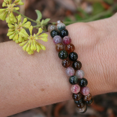 Multi Color Tourmaline Beaded Bracelet