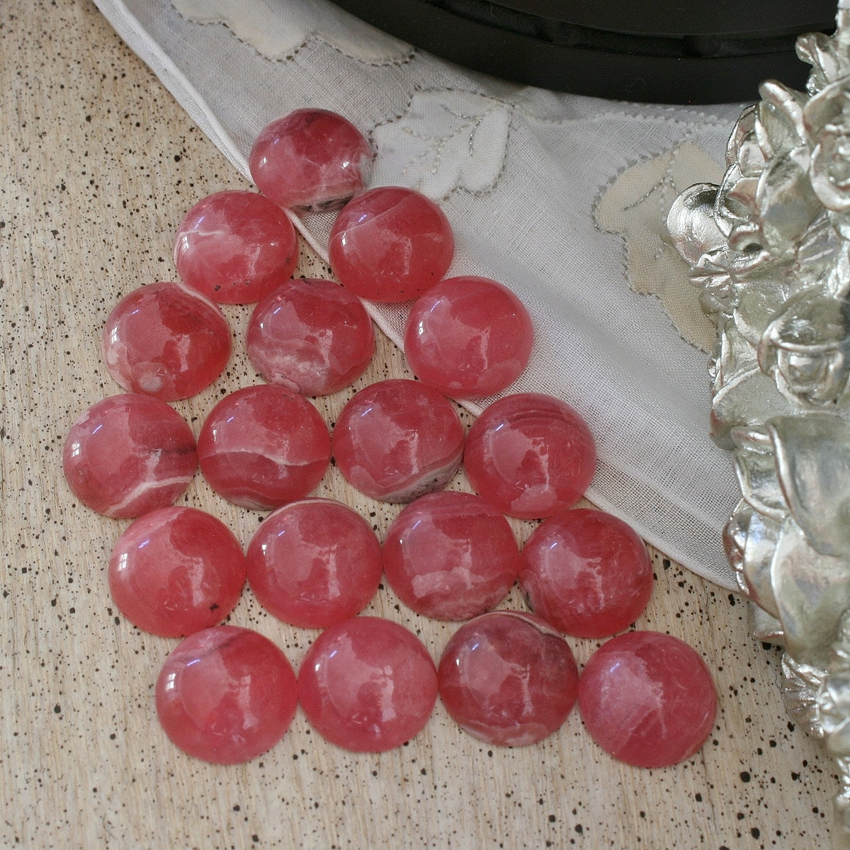 ONE Rhodochrosite Gemmy Round Cabochons from Argentina, 14 to 16 ct. each