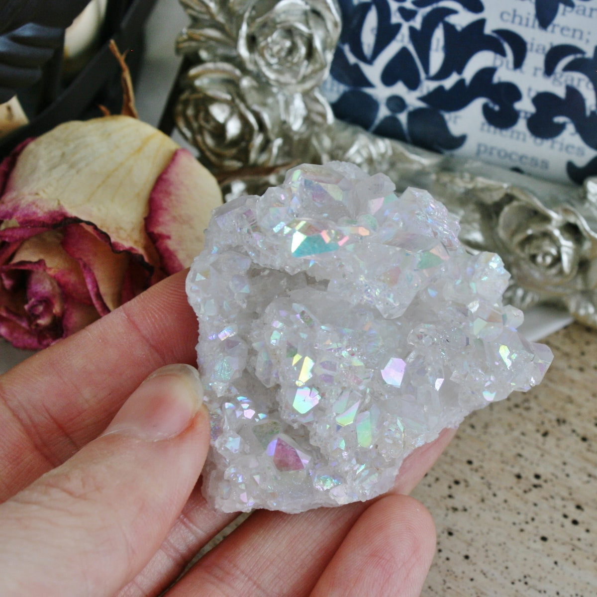 Opal Aura Quartz Crystal Cluster, Angel Aura Quartz Cluster from Arkansas, 44 grams