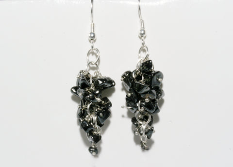 Hematite Grape Chip Earrings