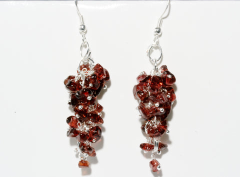 Garnet Grape Chip Earrings