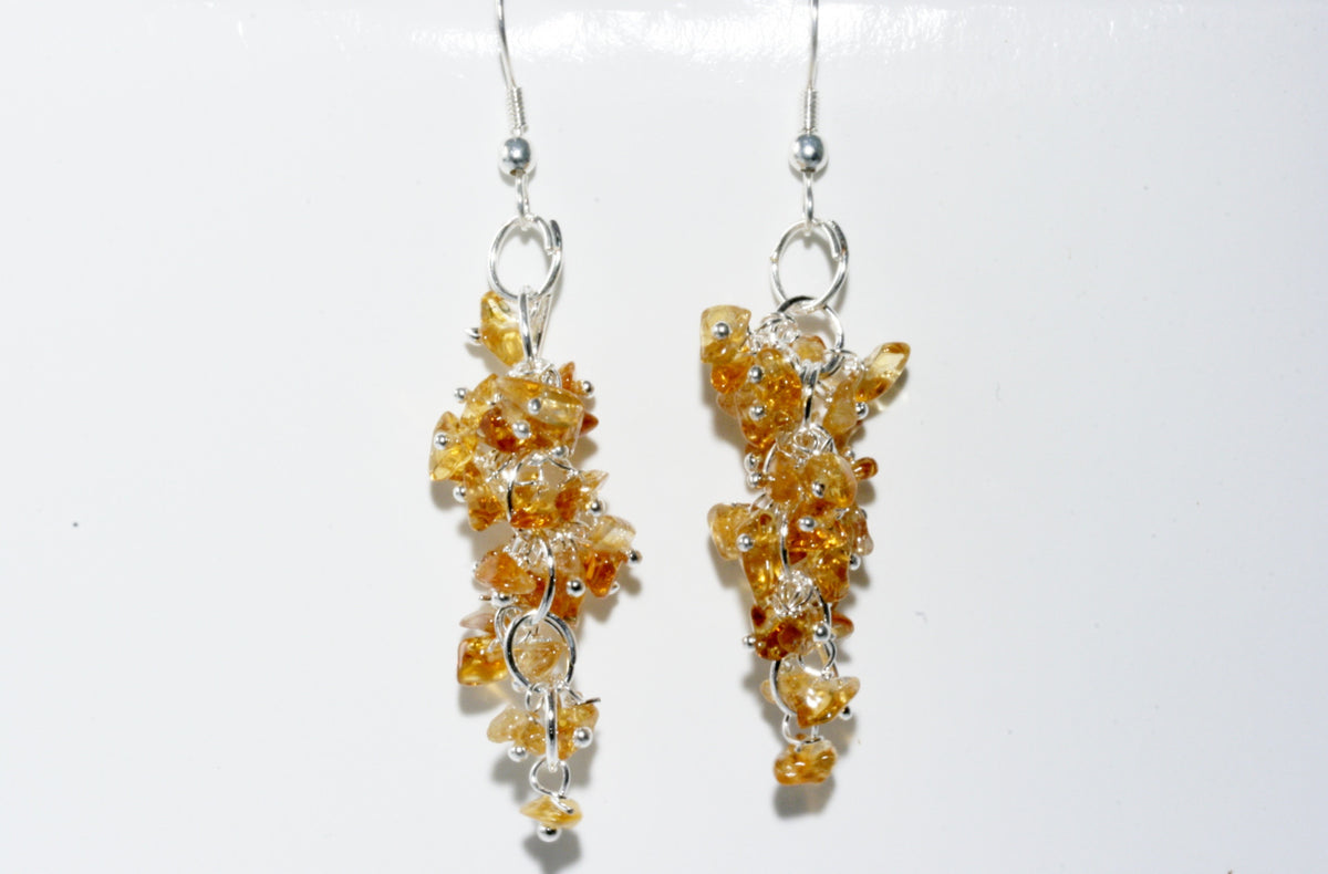 Citrine Grape Chip Earrings