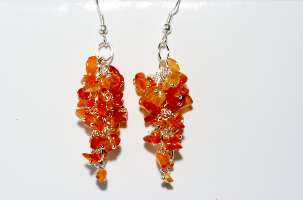 Carnelian Grape Chip Earrings