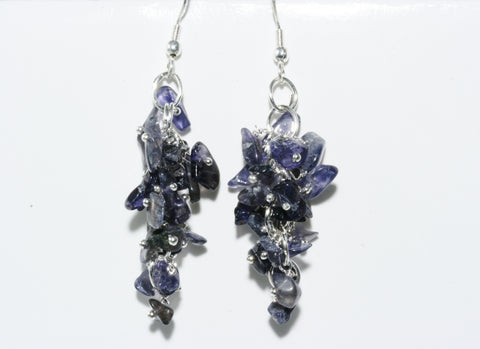 Iolite Grape Chip Earrings