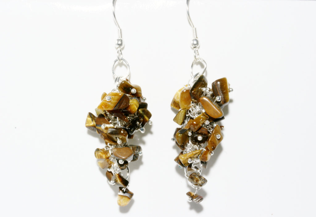 Tigers Eye Grape Chip Earrings