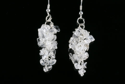 Clear Quartz Grape Chip Earrings